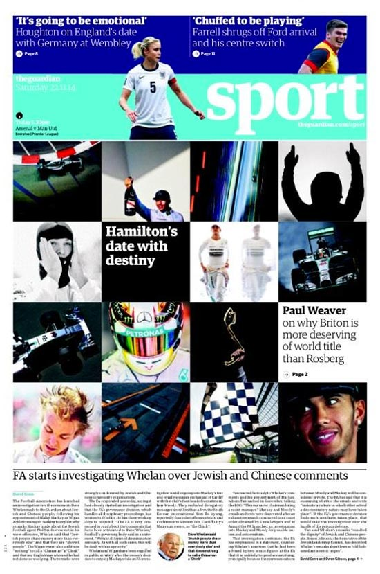 Portada de The Guardian del 22 de Noviembre de 2014