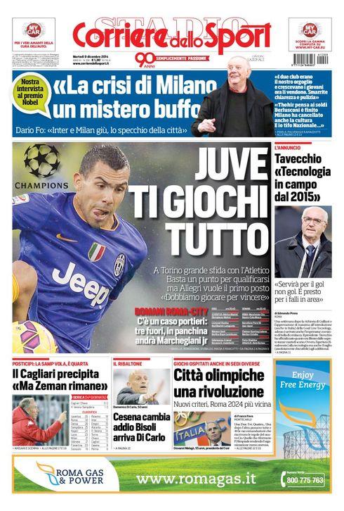 Portada del Corriere dello Sport del 9 de Diciembre