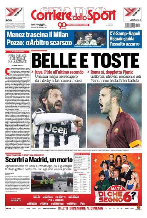 Portada del Corriere dello Sport del 1 de Diciembre