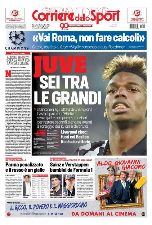 corsport1012Portada del Corriere dello Sport del 10 de Diciembre