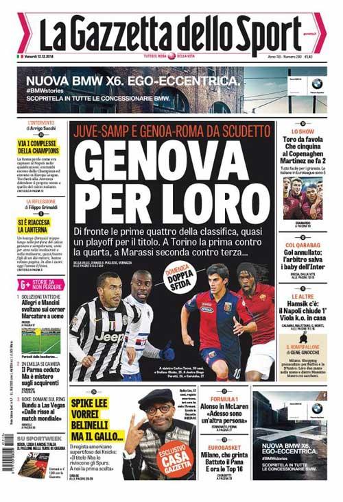 Portada de La Gazzetta dello Sport del 12 de Diciembre