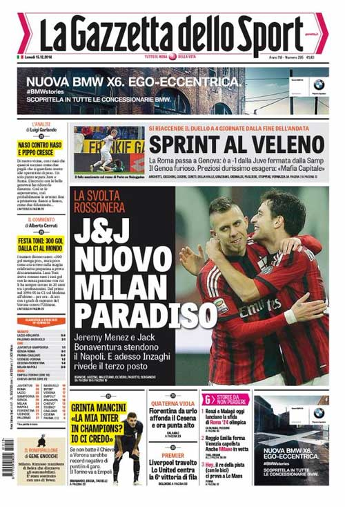 Portada de La Gazzetta dello Sport de 15 de Diciembre