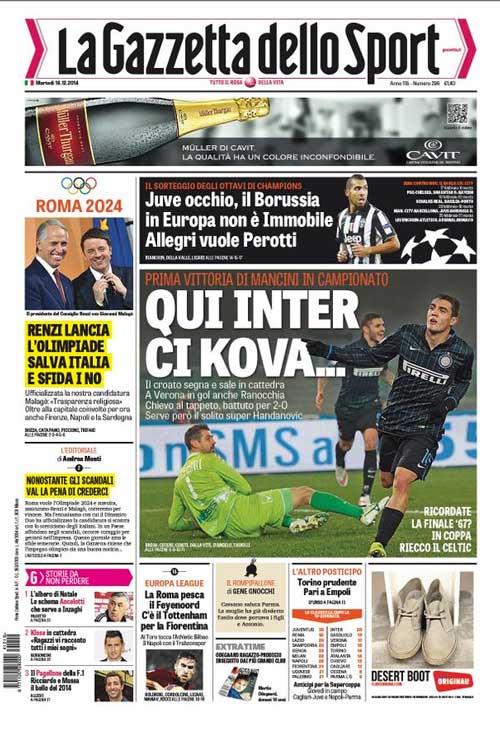 Portada de La Gazzetta dello Sport del 17 de Diciembre