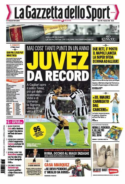 Portada de La Gazzetta dello Sport del 19 de Diciembre