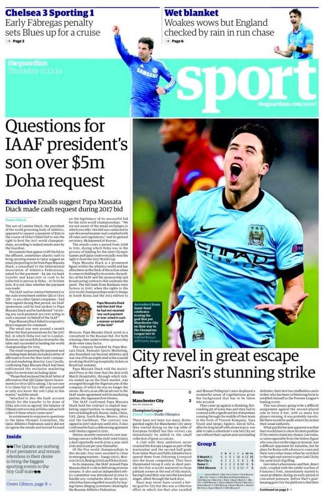 Portada de The Guardian del 11 de Diciembre