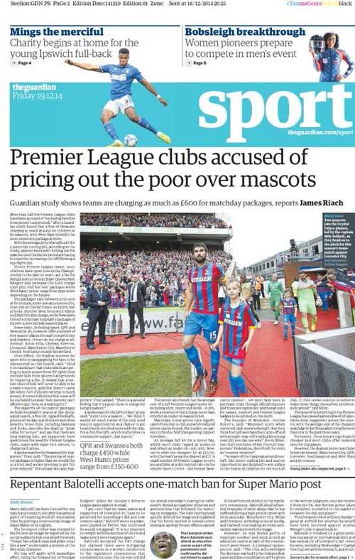 Portada de The Guardian del 19 de Diciembre