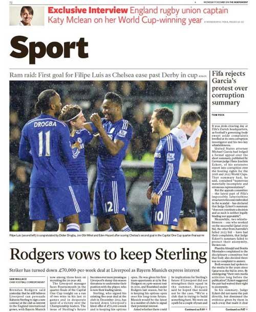 Portada de The Independent del 17 de Diciembre