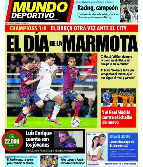 Portada de Mundo Deportivo del 16 de Diciembre: El día de la marmota