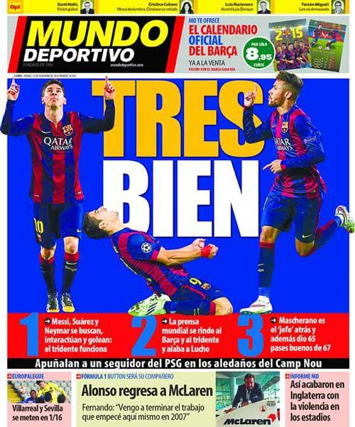 Portada de Mundo Deportivo del 12 de Diciembre