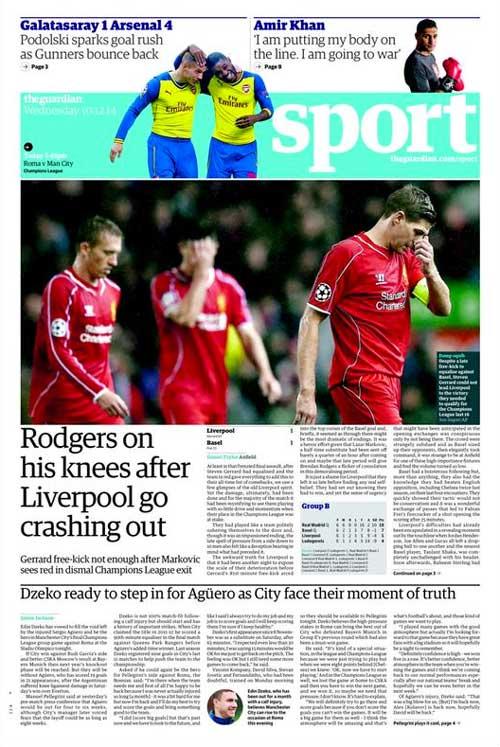 Portada de The Guardian del 10 de Diciembre