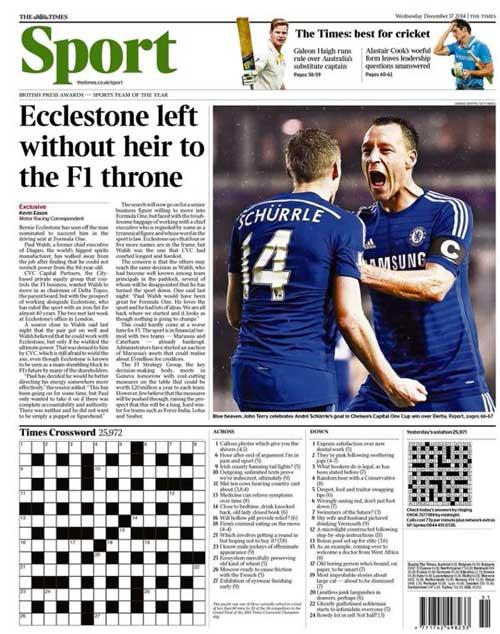 Portada de The Times del 17 de Diciembre