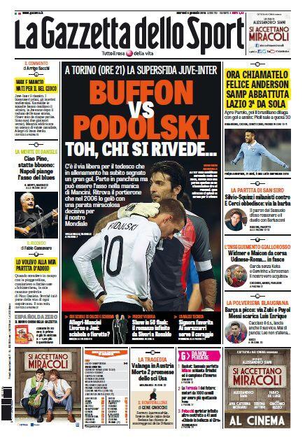 Portada de La Gazzetta dello Sport del 6 de Enero