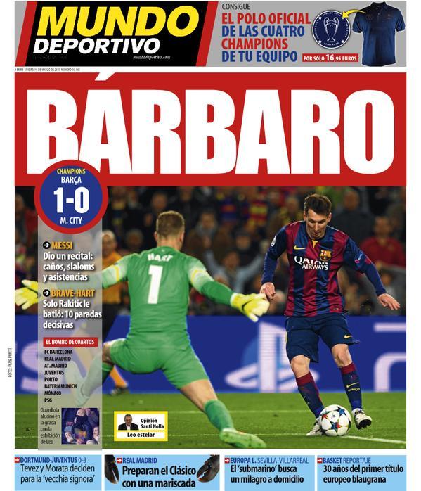 Portada del Mundo Deportivo del 19 de marzo de 2015