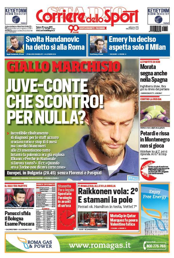 Portada Corriere dello Sport del 28 de marzo de 2015