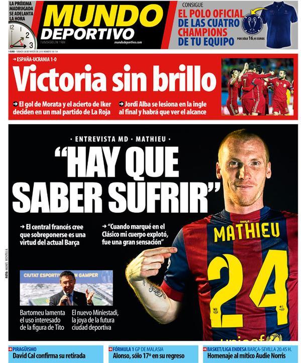Portada Mundo Deportivo del 28 de marzo de 2015