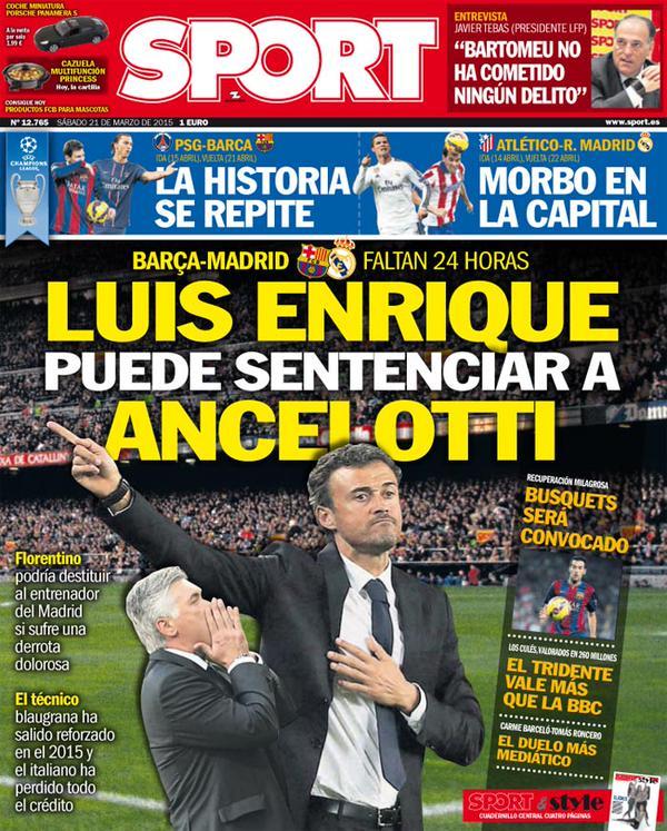 Portada de Sport del 21 de marzo de 2015