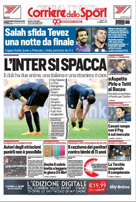 Portada Corriere dello Sport 7 de abril de 2015