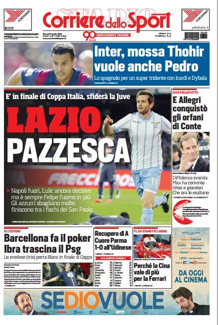 Portada Corriere dello Sport del 9 de abril de 2015
