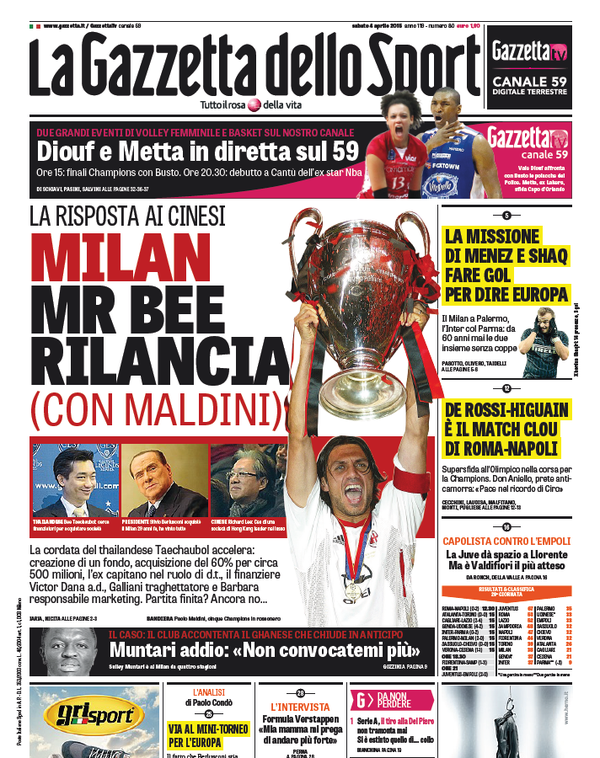 Portada Gazetta dello Sport del 4 de abril de 2015