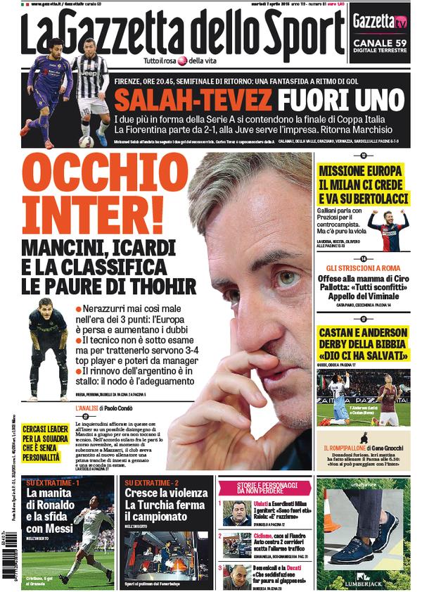 Portada Gazzetta dello Sport 7 de abril de 2015