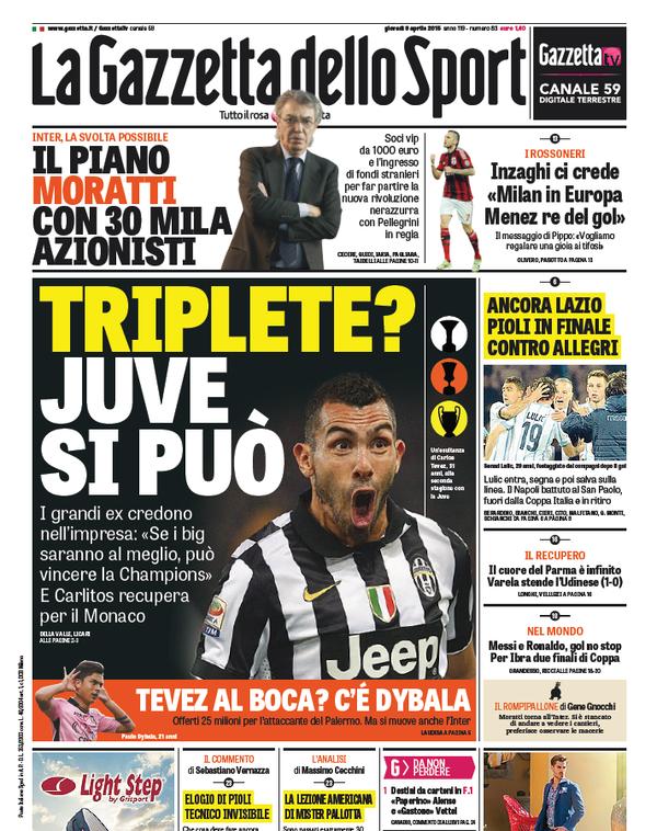 Portada Gazzetta dello Sport del 9 de abril de 2015