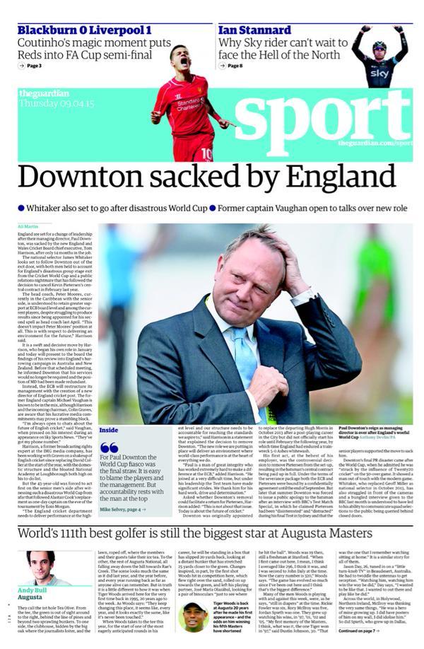 Portada Guardian del 9 de abril de 2015