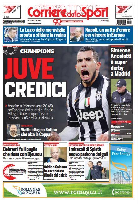 Portada de Corriere Dello Sport del 14 de abril de 2015
