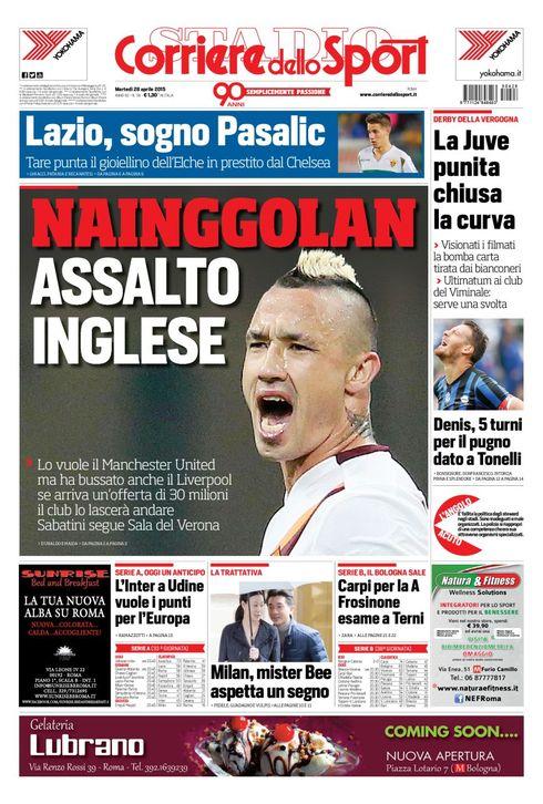 Portada de Corriere Dello Sport del 28 de abril de 2015