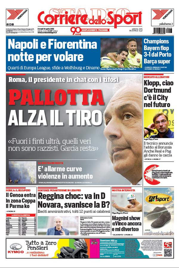 Portada de Corriere dello Sport del 16 de abril de 2015