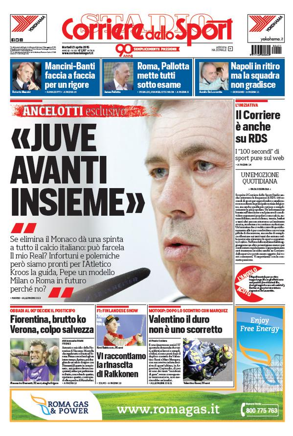 Portada de Corriere dello Sport del 21 de abril de 2015