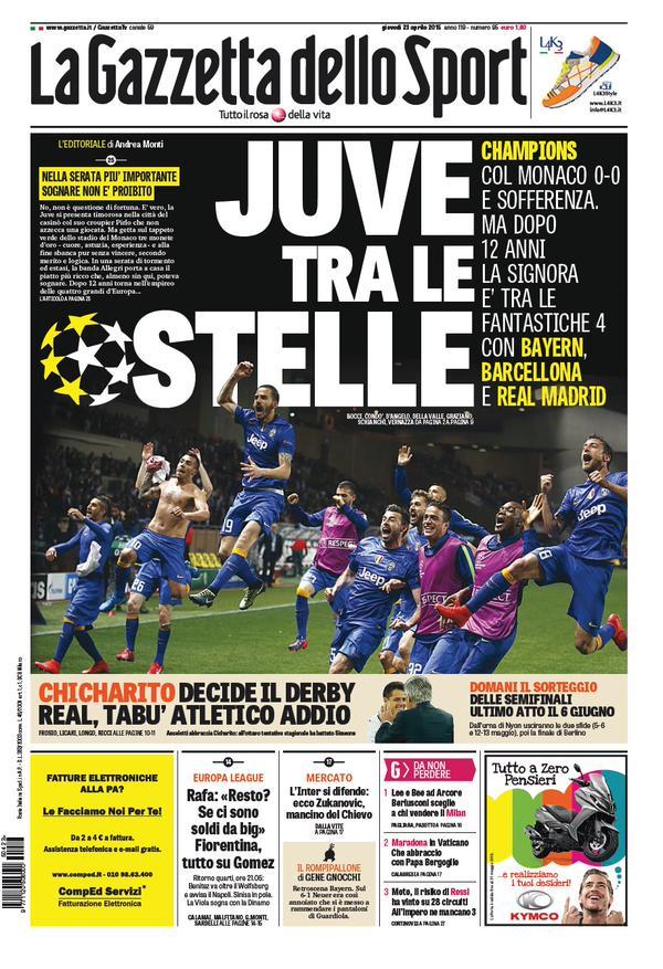 Portada de Gazzetta Dello Sport del 23 de abril de 2015