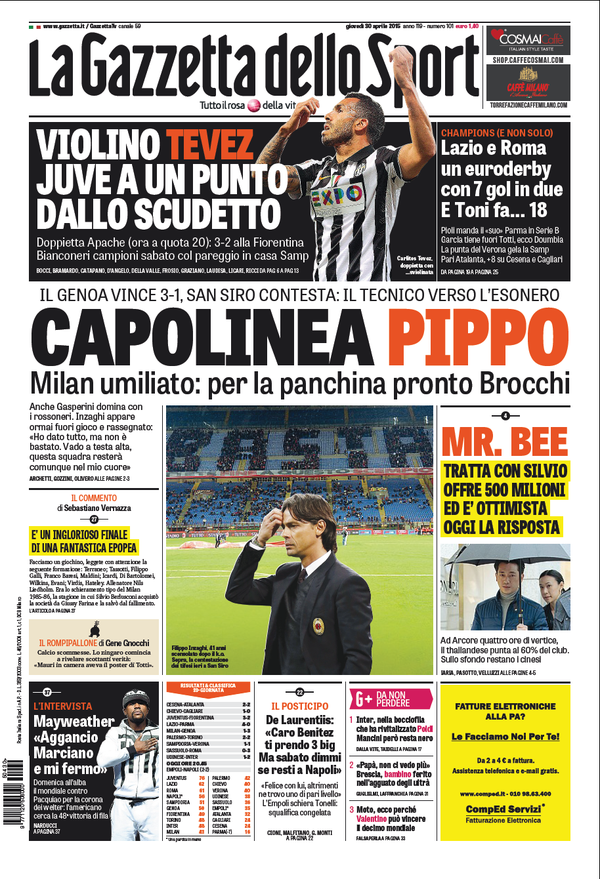 Portada de Gazzetta dello Sport del 30 de abril de 2015
