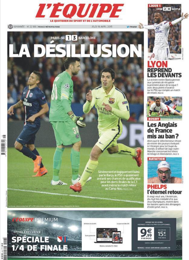 Portada de L'Equipe Times del 16 de abril de 2015