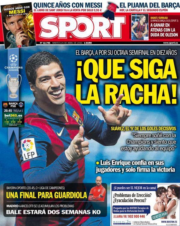 Portada de Sport del 21 de abril de 2015