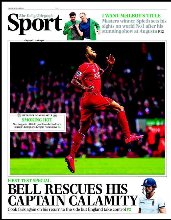 Portada de The Telegraph del 14 de abril de 2015