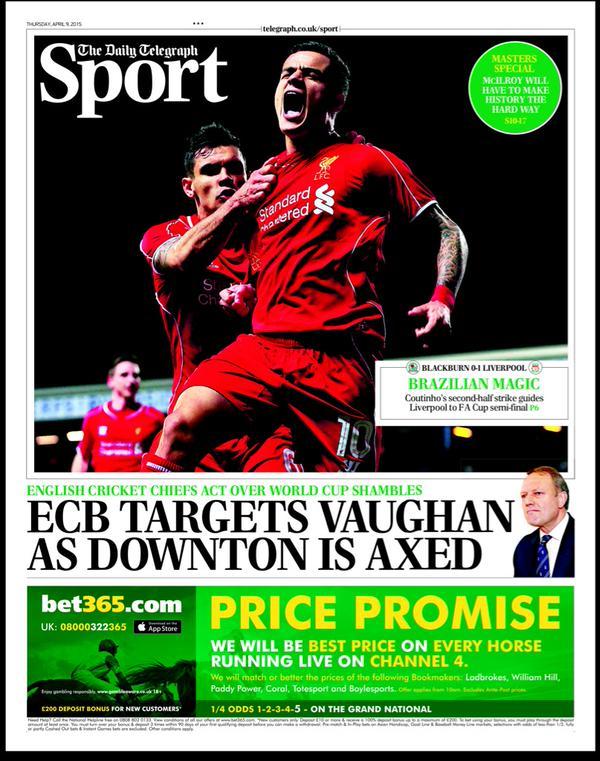 Portada de The Telegraph del 9 de abril de 2015