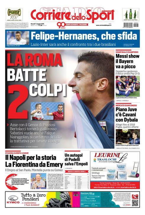 Portada de Corriere dello Sport del 7 de mayo de 2015