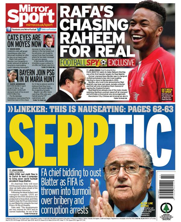Portada de Daily Mirror del 28 de mayo de 2015