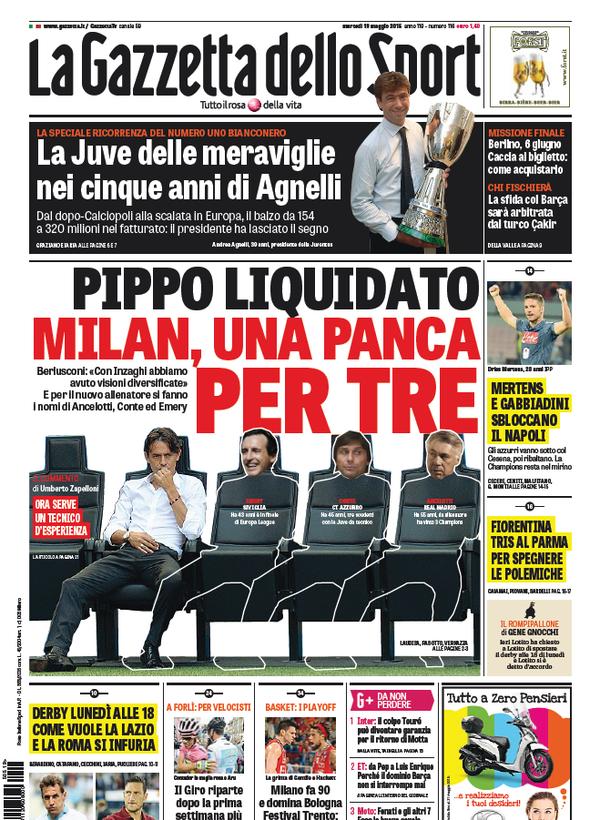 Portada de Gazzetta dello Sport 19 de mayo de 2015