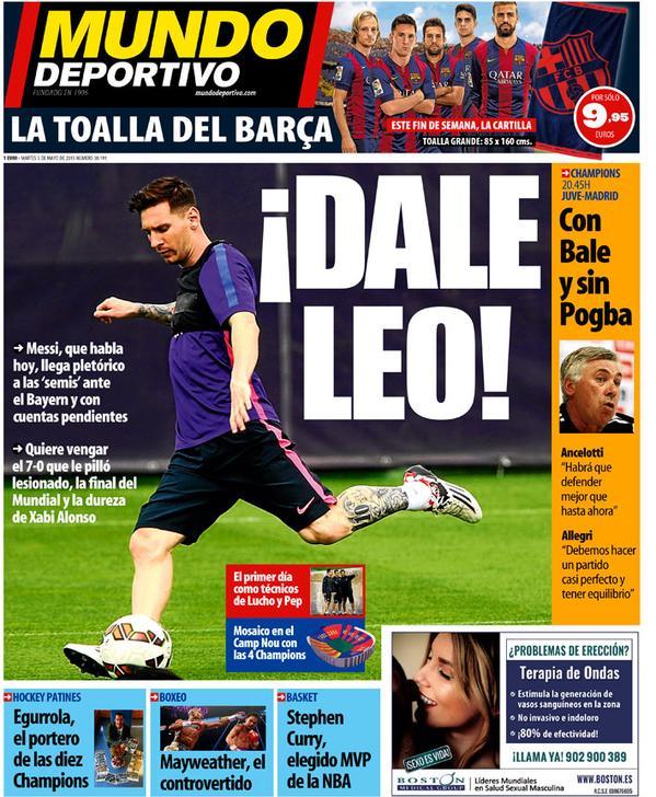 Portada de Mundo Deportivo del 05 de mayo de 2015