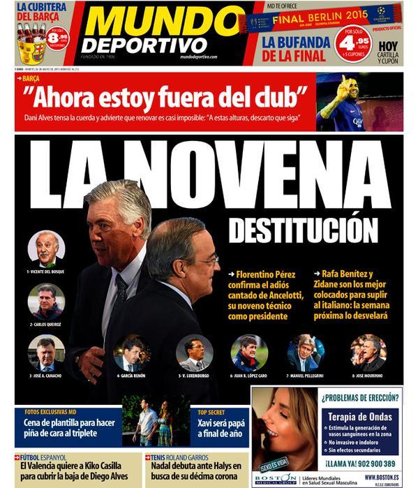 Portada de Mundo Deportivo del 26 de mayo de 2015