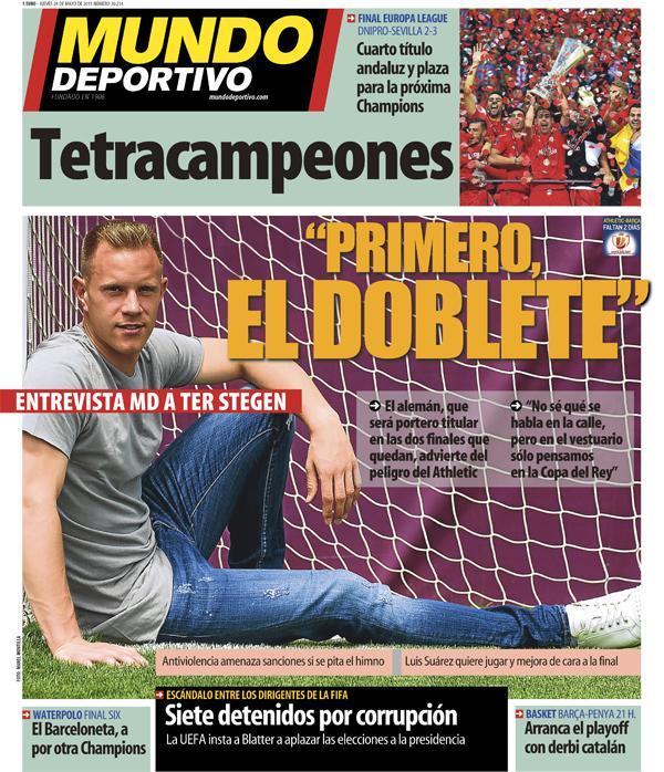 Portada de Mundo Deportivo del 28 de mayo de 2015