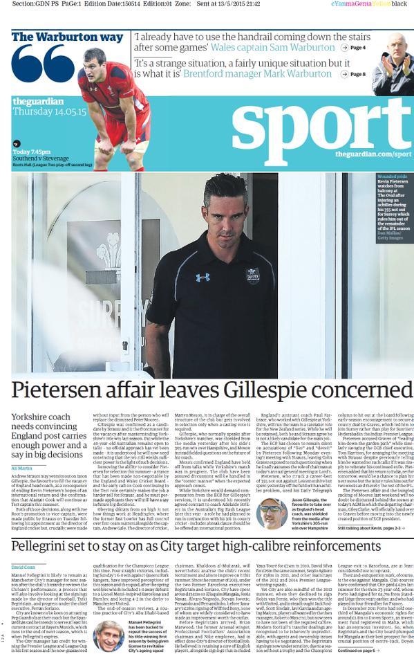 Portada de The Guardian del 14 de mayo de 2015
