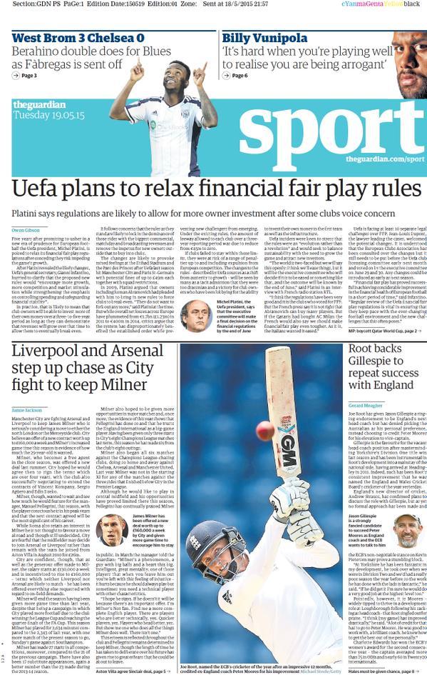 Portada de The Guardian del 19 de mayo de 2015
