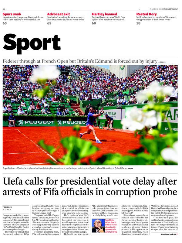 Portada de The Independent del 28 de mayo de 2015
