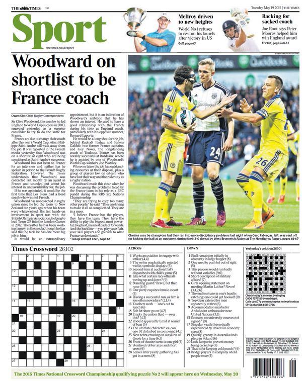 Portada de The Times del 19 de mayo de 2015