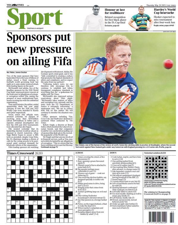 Portada de The Times del 28 de mayo de 2015