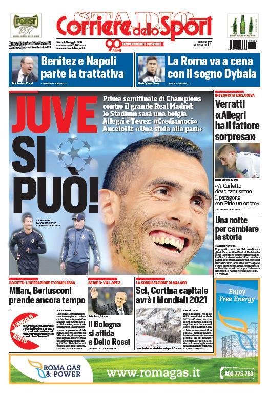 Portada del Corriere dello Sport del 05 de mayo de 2015