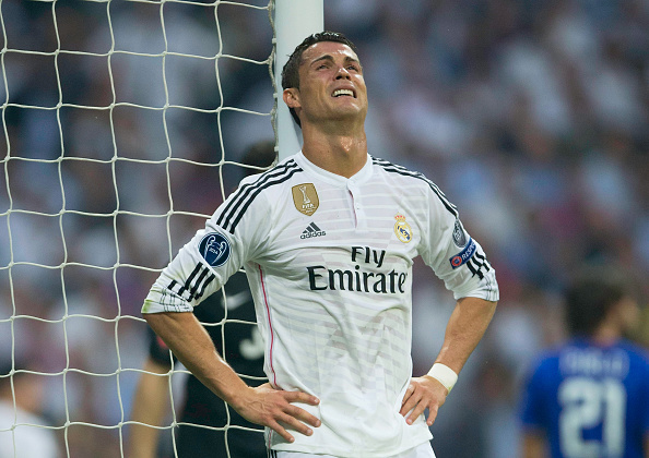 MADRID, SPAIN - MAY 13:  Cristiano Ronaldo of Real Madrid reacts after a missed chance on goal during the UEFA Champions League Semi Final, second leg match between Real Madrid and Juventus at Estadio Santiago Bernabeu on May 13, 2015 in Madrid, Spain.  (Photo by Gonzalo Arroyo Moreno/Getty Images)