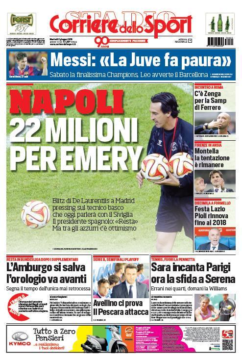 Portada de Corriere dello Sport del 2 de junio de 2015